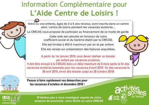 Information Complémentaire pour l'Aide Centre de Loisirs !